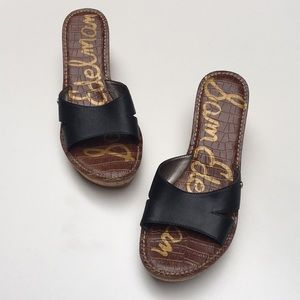 Sam Edelman Reid cork wedge black sandal size 9